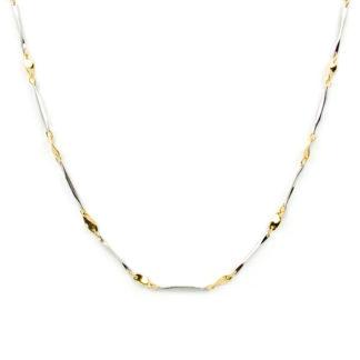 Collana girocollo donna in oro bianco e oro giallo tit 750 (18 kt), composto da barrette in oro bianco lucido alternate da elementi ovali a forma di fogliolina in oro giallo lucido