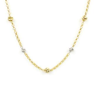 Collana girocollo bicolore in oro tit 750 (18 kt) con palline slash in oro bianco (dimensione 4 mm) e oro giallo (dimensione 5 mm) alternate