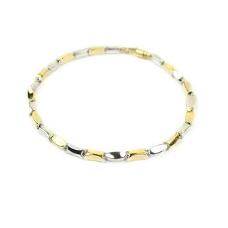 Bracciale uomo bicolore in oro giallo e oro bianco 750, lineare, catena a canna vuota; bracciale elegante, giovanile e grintoso