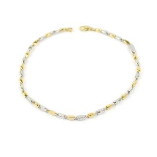 Bracciale uomo bicolore in oro in oro bianco e oro giallo 750, lineare, catena a canna vuota tonda; liscio e lucido, elegante e raffinato