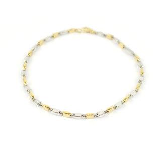 Bracciale uomo bicolore in oro bianco e oro giallo 750, lineare, catena a canna vuota; liscio e lucido, elegante e raffinato