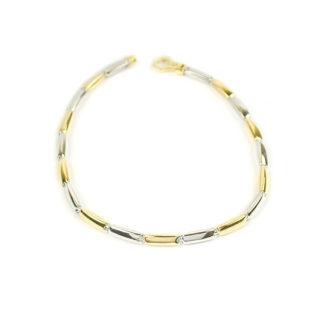 Bracciale uomo bicolore in oro giallo e oro bianco tit 750, lineare, catena a canna vuota; bracciale elegante e raffinato