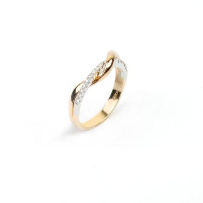 Anello donna modello fascetta, intrecciato, in oro rosè e bianco 750, misura 14, con diamanti colore H/VS ct 0,08