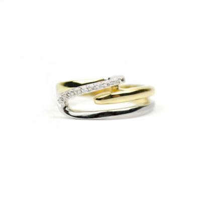 Anello donna con diamanti modello fascetta, in oro giallo e bianco 750, misura 15; diamanti colore H/VS ct 0,05, anello elegante e raffinato