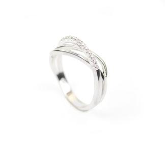 Anello donna con diamanti modello fascetta, intrecciato, in oro bianco 750, misura 16, con diamanti colore H/VS ct 0,08; elegante e raffinato