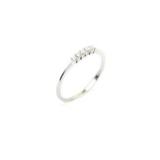 Anello donna con diamanti, modello fedina in oro bianco 750 18 kt, misura 13, con 5 pietre diamanti colore G/VS ct 0,08; elegante e raffinato