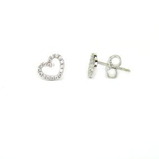 Orecchini cuore zirconi a perno e farfallina; cuore con zirconi vuoto al centro, in oro bianco tit 750 (18 kt); orecchini da donna e bambina