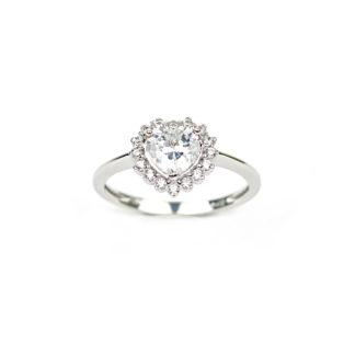 Anello donna cuore in oro bianco 750, misura 14, zircone centrale a forma di cuore con cornice di zirconi; anello elegante