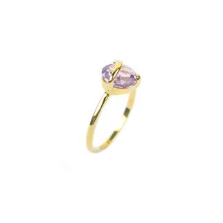 Anello donna con ametista in oro giallo 750, misura 14; anello con pietra viola sfaccettata taglio briolette dimensione 8 mm