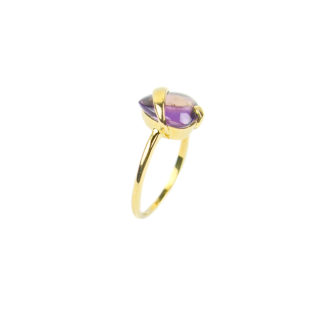 Anello donna ametista in oro giallo 750, misura 14; anello con pietra viola ametista, quarzo idrotermaletaglio triangolare