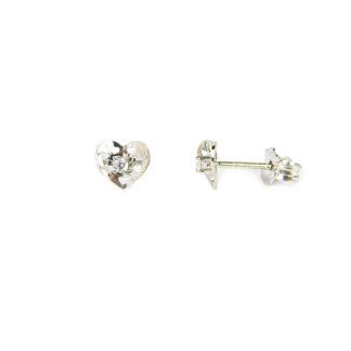 Orecchini cuore con zircone; perno e farfallina, cuore traforato con zircone centrale, in oro bianco tit 750 (18 kt), orecchini da donna e bambina