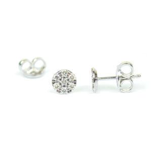 Orecchini donna tondi diamanti a lobo, perno e farfallina, forma tonda, in oro bianco tit 750, con diamanti colore I caratura 0,14; orecchini eleganti