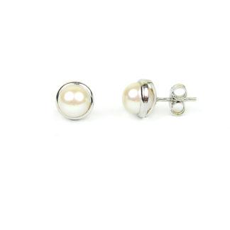 Orecchini donna perle oro; perle coltivate acqua dolce mm 6,5-7 su montatura liscia in oro bianco 750; orecchini sposa classici eleganti