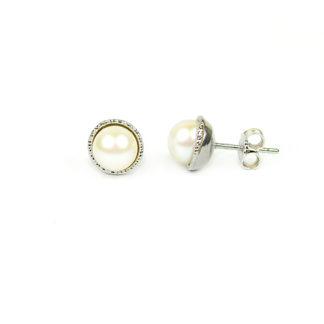 Orecchini perle oro bianco; perle coltivate acqua dolce mm 6,5-7 su montatura puntinata in oro bianco 750; orecchini sposa classici eleganti matrimonio