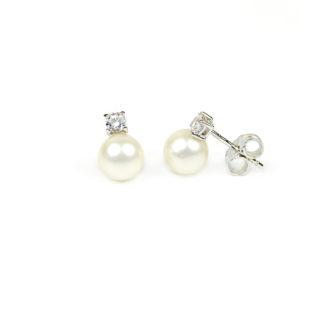 Orecchini sposa perle oro; orecchini perle coltivate acqua dolce 6,5-7 mm oro bianco tit 750 con zircone; orecchino elegante cerimonia matrimonio classico