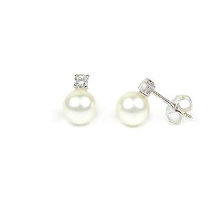 Orecchini matrimonio perle oro; orecchini sposa perle coltivate acqua dolce 7-7,5 mm oro bianco tit 750 con zircone; orecchino elegante cerimonia classico