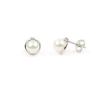Orecchini sposa perle e zircone; perle coltivate acqua dolce mm 6,5 montatura in oro bianco tit 750 con zircone; orecchino elegante cerimonia classico
