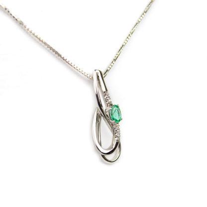 Collana diamanti smeraldo girocollo donna in oro bianco tit 750 (18 kt), con diamante ct 0,03 colore H/VS e uno smeraldo ct 0,35