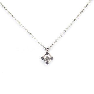 Collana diamante oro bianco; girocollo donna in oro bianco tit 750 (18 kt), con diamante ct 0,10 colore G/SI su montatura quadrata