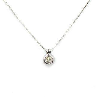 Collana punto luce diamante; girocollo donna in oro bianco tit 750 (18 kt), con un diamante ct 0,05 colore G/VS , su montatura a cipollina