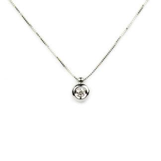 Collana cipollina diamante; girocollo donna in oro bianco tit 750 (18 kt), con un diamante ct 0,10 colore G/VS , su montatura a cipollina