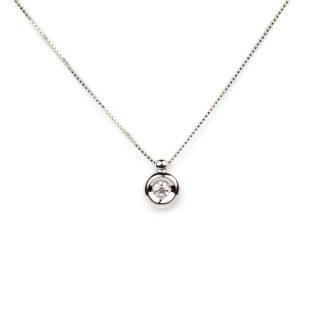 Collana girocollo donna in oro bianco tit 750 (18 kt), con un diamante ct 0,08 colore G/VS , su montatura a cipollina;catena veneziana massiccia