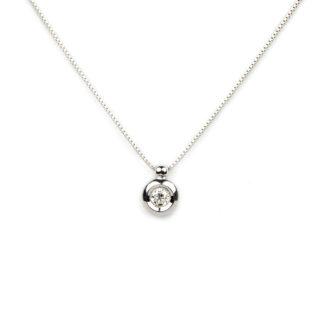 girocollo punto luce diamante donna in oro bianco tit 750 (18 kt), con un diamante ct 0,12 colore G/VS , su montatura a cipollina