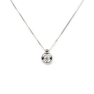 Collana punto luce diamante girocollo donna in oro bianco tit 750 (18 kt), con un diamante ct 0,14 colore G/VS , su montatura a cipollina