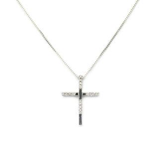Collana croce diamanti girocollo donna in oro bianco tit 750 (18 kt), croce con diamanti ct 0,13 colore G/VS; catena veneziana massiccia