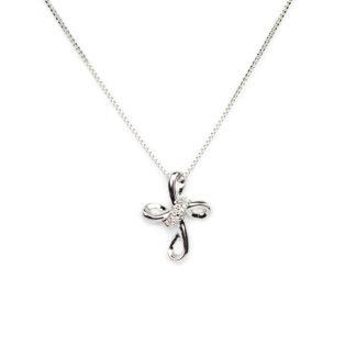 Collana croce con diamanti; girocollo donna in oro bianco tit 750 (18 kt), croce con diamanti ct 0,03 colore G/VS; catena veneziana massiccia