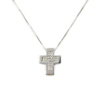 Collana croce con diamanti; girocollo donna in oro bianco tit 750 (18 kt), croce con diamanti ct 0,12 colore H/VS; catena veneziana massiccia