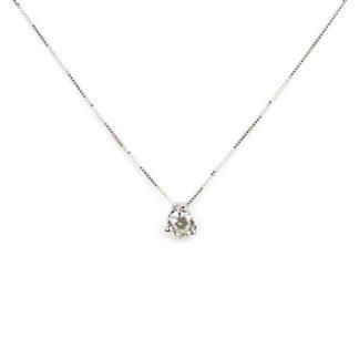 Punto luce zircone collana girocollo donna in oro bianco tit 750, zircone di misura 4,5 mm scorrevole (che non esce) su montatura a giorno con 3 griffe
