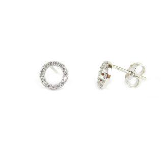 Orecchini cerchio zirconi perno e farfallina, montatura a cerchio vuoto al centro, diametro esterno 7 mm in oro bianco tit 750, con zirconi