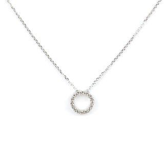 Collana cerchio vuoto zirconi girocollo donna in oro bianco tit 750 (18 kt), con cerchio vuoto al centro con zirconi, scorrevole (che non esce)