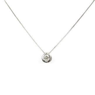 Collana punto luce concavo girocollo donna in oro bianco tit 750 (18 kt), con zircone su montatura concava scorrevole (che non esce)
