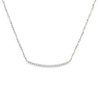 Collana barretta zirconi girocollo donna in oro bianco tit 750 (18 kt), con barretta centrale di zirconi di misura 3,5 cm, con zirconi di 2 mm