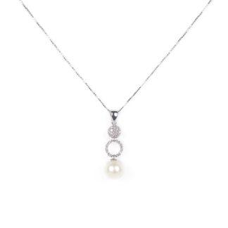 Collana ciondolo perla, girocollo in oro bianco tit 750 (18 kt)ciondolo rimovibile composto da una perla coltivata acqua dolce su montatura con zirconi
