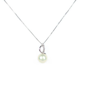 Ciondolo perla zirconi, collana veneziana in oro bianco tit 750 (18 kt) con ciondolo rimovibile, perla coltivata acqua dolce su montatura con zirconi