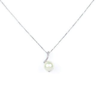 Collana oro bianco perla, veneziana in oro bianco tit 750 (18 kt) con ciondolo rimovibile, perla coltivata acqua dolce su montatura con zirconi