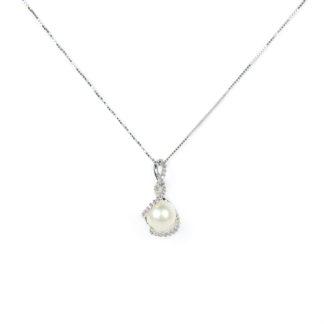 Collana ciondolo perla zirconi, veneziana in oro bianco tit 750 (18 kt) con ciondolo rimovibile, perla coltivata acqua dolce su montatura con zirconi