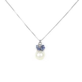 Collana perla radice zaffiro; veneziana girocollo oro bianco tit 750 (18 kt) ciondolo rimovibile con una perla coltivata acqua dolce e radici di zaffiro