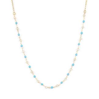 Collana turchese e perle; girocollo donna in oro giallo tit 750 (18 kt) con centrale composto da perle di turchese ricostruito alternate a perle a rondella