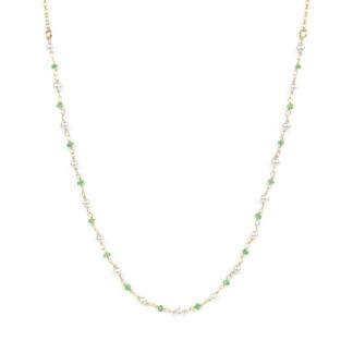 Collana tsavorite e perle girocollo in oro giallo tit 750 (18 kt) con centrale composto da tsavorite alternate a perle