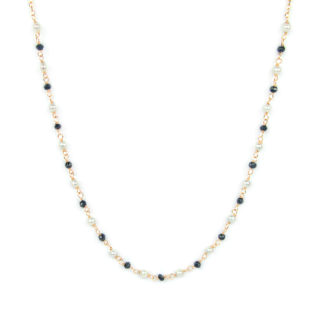Collana spinello nero perle girocollo donna in oro rosè tit 750 (18 kt) con centrale composto da spinello nero alternato a perle