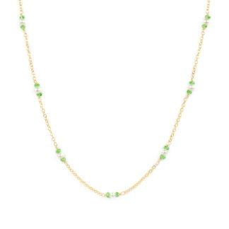 Collana girocollo tsavorite perle donna, catena in oro giallo tit 750 (18 kt), alternata a perle coltivate in acqua dolce e tsavorite
