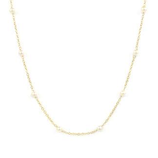 Collana girocollo perle donna; catena in oro giallo tit 750 (18 kt) con perle coltivate in acqua dolce, di dimensione 4 mm