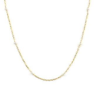 Collana girocollo perle donna; catena in oro giallo tit 750 (18 kt) con perle coltivate in acqua dolce, di dimensione 2,5 mm