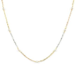 Oro giallo bianco rosa collana tre colori girocollo donna in oro giallo, bianco e rosè alternati, oro tit 750 (18 kt), con perle coltivate in acqua dolce