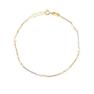 Bracciale tre colori in oro 750 giallo, bianco e rosè, con perle coltivate di acqua dolce misura 2,5 mm; catena rolò ovale massiccia