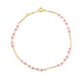 Bracciale con rubini e perle donna in oro giallo 750 con rubini di 2 mm alternati a perle di acqua dolce 3 mm; catena rolò ovale massiccia